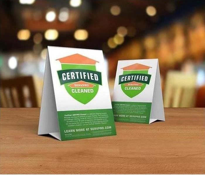 Certified: SERVPRO Cleaned table toppers in a restaurant
